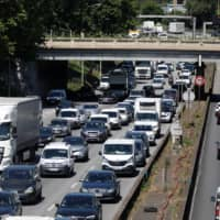 Heavy traffic clogs the ring road in Paris on Tuesday. | REUTERS
