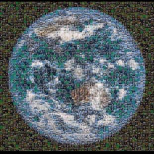 A mosaic is created from screenshots of activists who took part in the Global Climate Strike in April, which was held online due to the novel coronavirus. | COURTESY OF FRIDAYS FOR FUTURE TOKYO