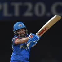 Delhi Capitals cricketer Prithvi Shaw plays a shot during the 2019 Indian Premier League eliminator match against Sunrisers Hyderabad in Visakhapatnam, India, on May 8, 2019. | AFP-JIJI