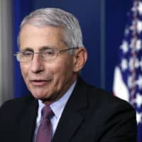 Anthony Fauci speaks about the new coronavirus at the White House last month.  | AP