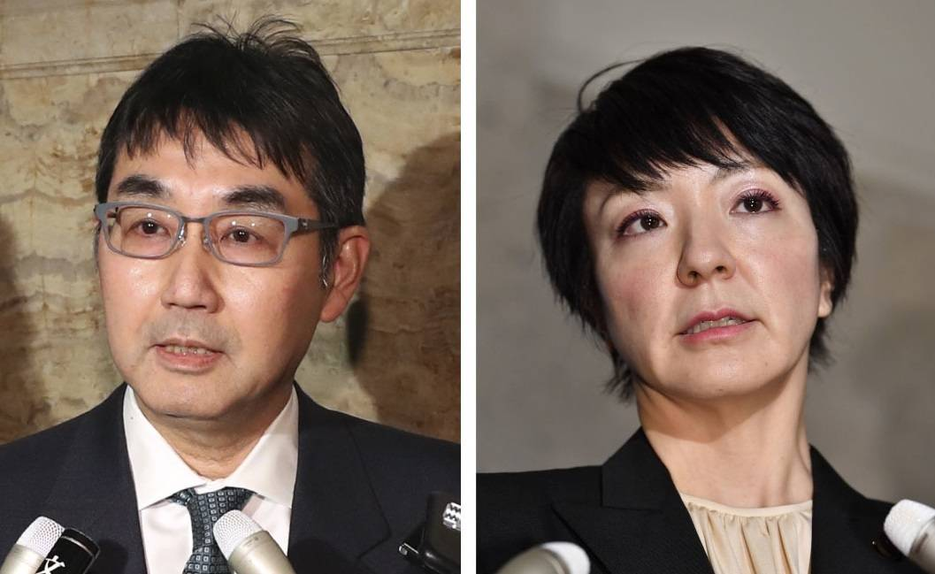 Prosecutors plan to press charges against Katsuyuki Kawai (left) for bribery in connection with the campaign for his wife Anri (right) in a July 2019 Upper House election. | KYODO