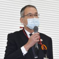 Masaaki Furuya, Japan Post's Tohoku branch chief, speaks at a news conference on April 10 in the city of Fukushima regarding coronavirus infections spreading at its post office in the city of Nihonmatsu. | KYODO