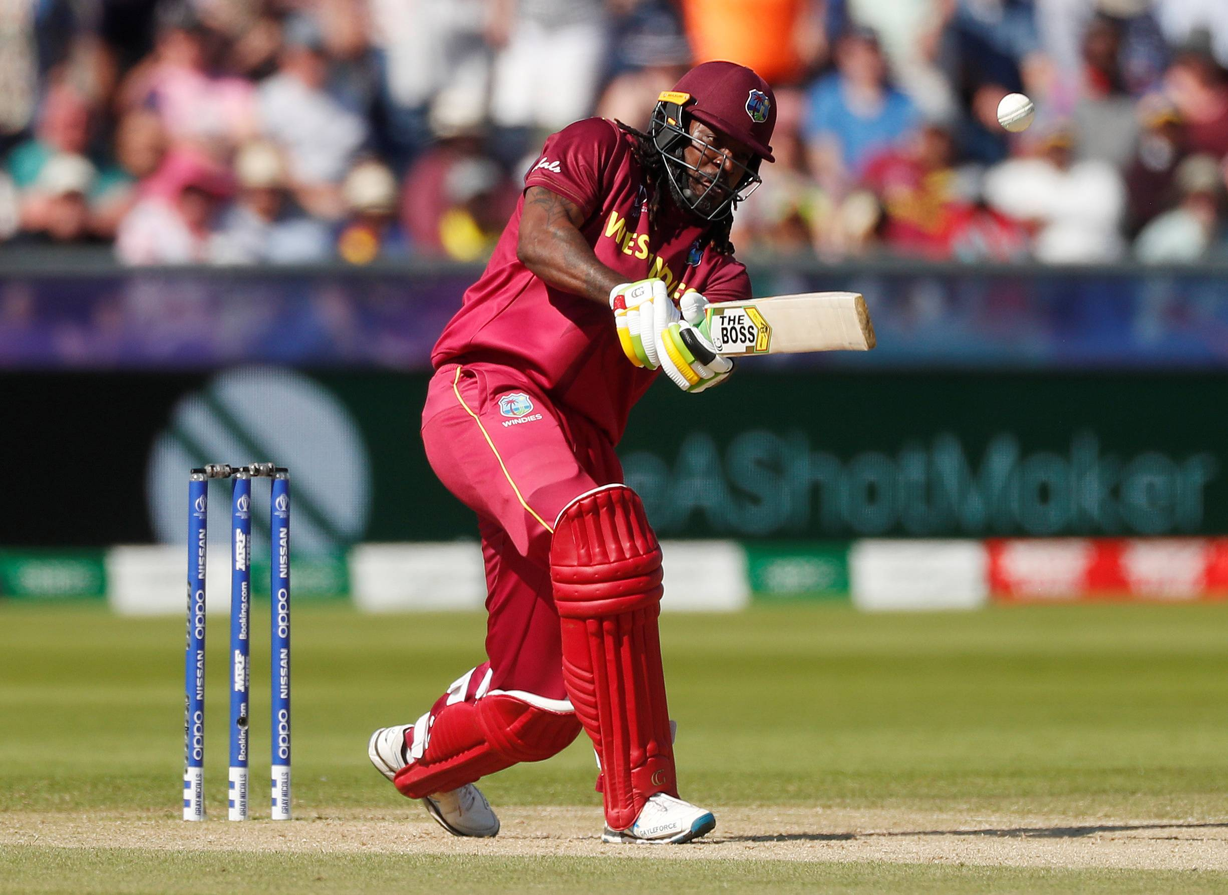 The West Indies' Chris Gayle competes against Sri Lanka during the ICC Cricket World Cup on July 1, 2019, in Chester-le-Street, Britain. | REUTERS