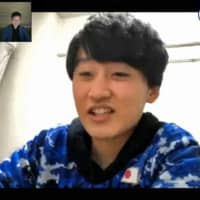 Web Nasri (real name Taichi Aoki), a member of the Japan Football Association's esports national team, answers questions following an international esports charity tournament on April 21. | SPORTS ASSIST YOU / VIA KYODO