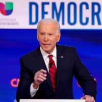 Democratic U.S. presidential candidate and former Vice President Joe Biden speaks during a debate in Washington in March.  | REUTERS