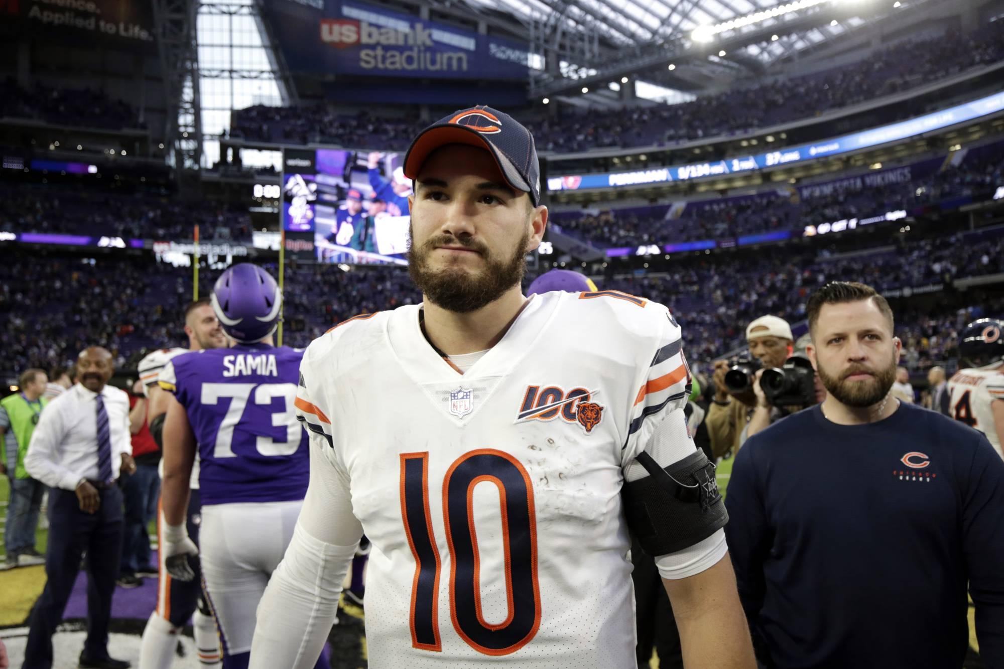 Bears quarterback Mitchell Trubisky walks off the field after an NFL game against the Vikings on Dec. 29, 2019, in Minneapolis, Minnesota. | AP
