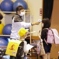 Children go through body temperature checks Monday before entering classrooms at a municipal-run elementary school in Kitakyushu, Fukuoka Prefecture, which reopened on the day. | KYODO