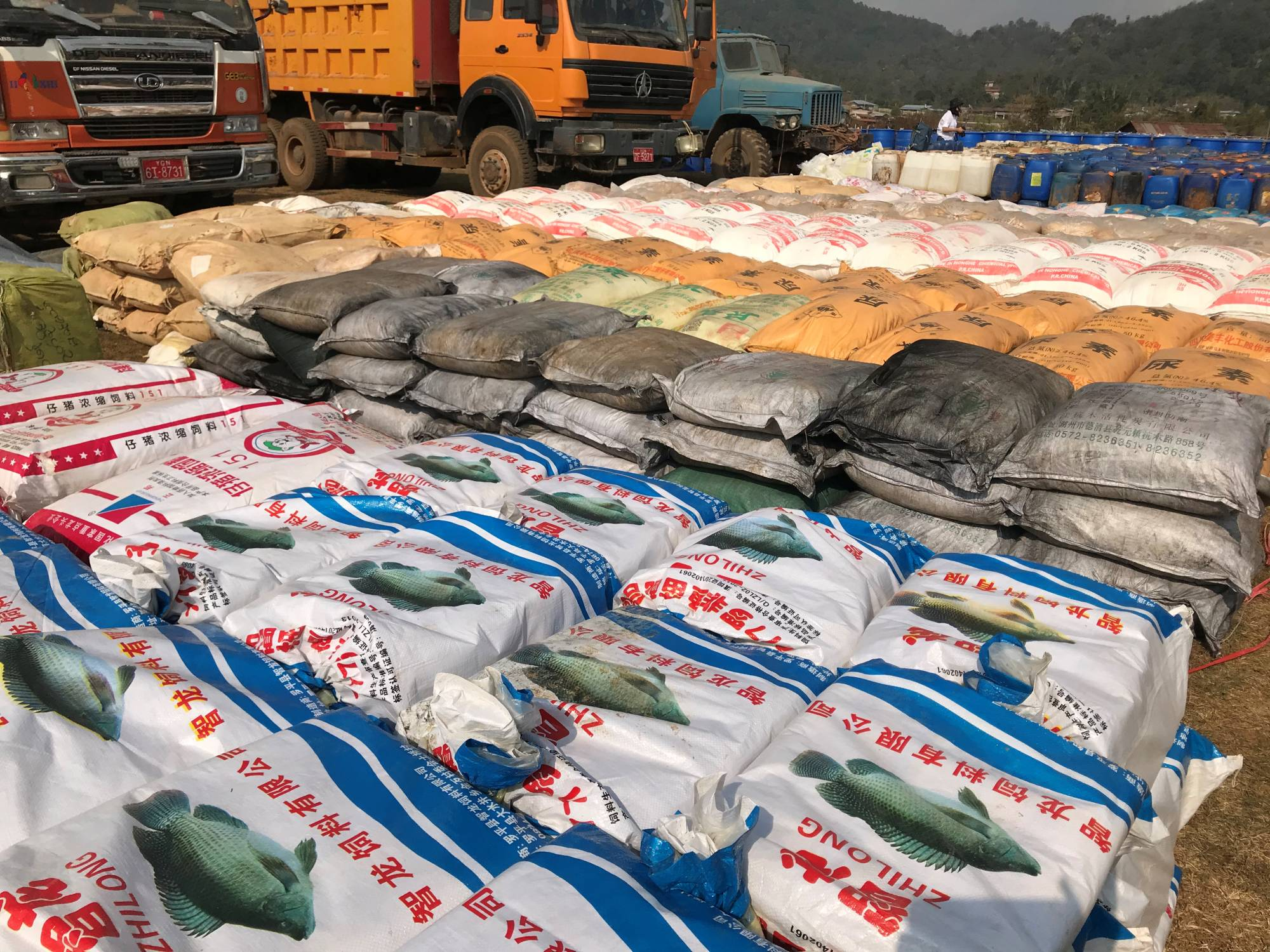 Precursor chemicals used to make illicit drugs such as methamphetamine, ketamine, heroin and fentanyl seized by Myanmar police and military are seen in this undated photo near Loikan village in Shan State between February and April 2020 in what the United Nations Office on Drugs and Crime described as Asia's biggest-ever drug bust.  | MYANMAR POLICE / UNODC / VIA REUTERS