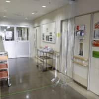 A hospital in the city of Osaka stands ready for COVID-19 patients. | KYODO