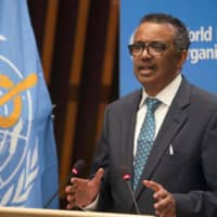 World Health Organization Director-General Tedros Adhanom Ghebreyesus gives a speech at the opening of the World Health Assembly virtual meeting from the WHO headquarters in Geneva on Monday.  | CHRISTOPHER BLACK / WORLD HEALTH ORGANIZATION / VIA AFP-JIJI
