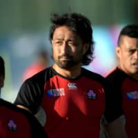Brave Blossoms lock Hitoshi Ono (center) attends a training session in Brighton, England, during the 2015 Rugby World Cup. | AFP-JIJI
