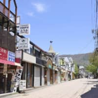 A deserted street in Karuizawa, a summer resort town in Nagano Prefecture, on May 14 | KYODO