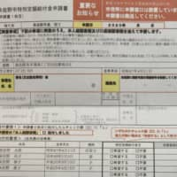 An application form for a special ¥100,000 cash handout for residents in the city of Izumisano, Osaka Prefecture | KYODO