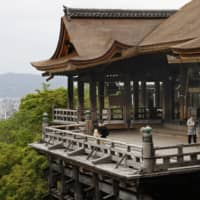 Few visitor are seen at Kiyomizu Temple, one of the top tourist attractions in Kyoto, on May 9. | KYODO