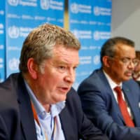 Mike Ryan, executive director of the World Health Organization's emergencies program, speaks at a news conference in Geneva in February.  | REUTERS