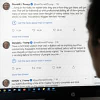 In a first, Twitter labeled two tweets by U.S. President Donald Trump posted on Tuesday as 'unsubstantiated.'  | AFP-JIJI