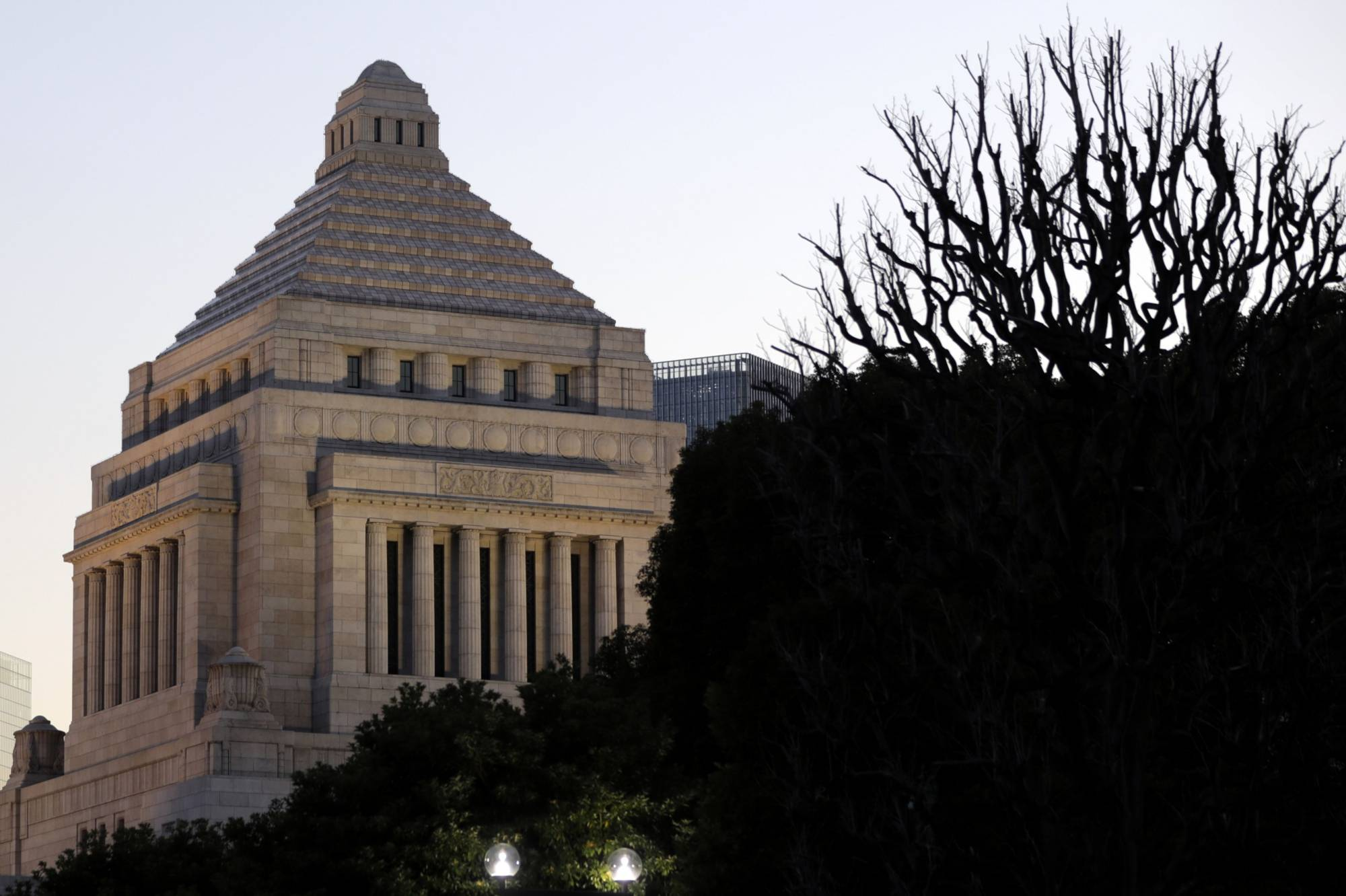 The National Diet building stands in Tokyo in January. | BLOOMBERG