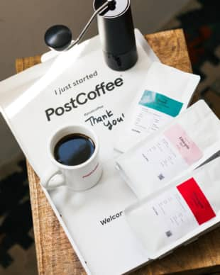 Bespoke beans: PostCoffee's quiz pairs you with three of its 30 varieties of coffee for a customized box. | COURTESY OF POSTCOFFEE
