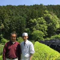 Boun-tea-ful relationship: Grower Katsuya Saito (left) is the 17th-generation head of a family that has produced the renowned Hon'-yamacha tea for centuries in Shizuoka Prefecture. Saito does everything himself from growing the tea to processing the leaves; he even cultures microbes to improve the soil. Next to him stands Toshiya Ikki, owner-chef of the kaiseki (multicourse) Japanese restaurant Ikki in the city of Hamamatsu, where the bottled tea Kin no Fukun is served. |