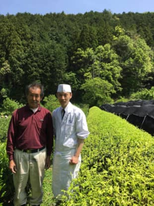 Boun-tea-ful relationship: Grower Katsuya Saito (left) is the 17th-generation head of a family that has produced the renowned Hon'-yamacha tea for centuries in Shizuoka Prefecture. Saito does everything himself from growing the tea to processing the leaves; he even cultures microbes to improve the soil. Next to him stands Toshiya Ikki, owner-chef of the kaiseki (multicourse) Japanese restaurant Ikki in the city of Hamamatsu, where the bottled tea Kin no Fukun is served.
