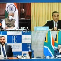Foreign ministers of BRICS countries conduct an online conference on April 28. | COURTESY OF RUSSIAN FOREIGN MINISTRY / VIA TASS / VIA KYODO