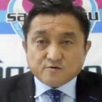 Minoru Takehara, president of Sagan Tosu, speaks to reporters during a video call on Tuesday. | KYODO