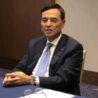 Takeshi Niinami, CEO of Suntory Holdings Ltd., speaks about his company's business and ESG efforts during an interview in Tokyo in May.  | SAYURI DAIMON