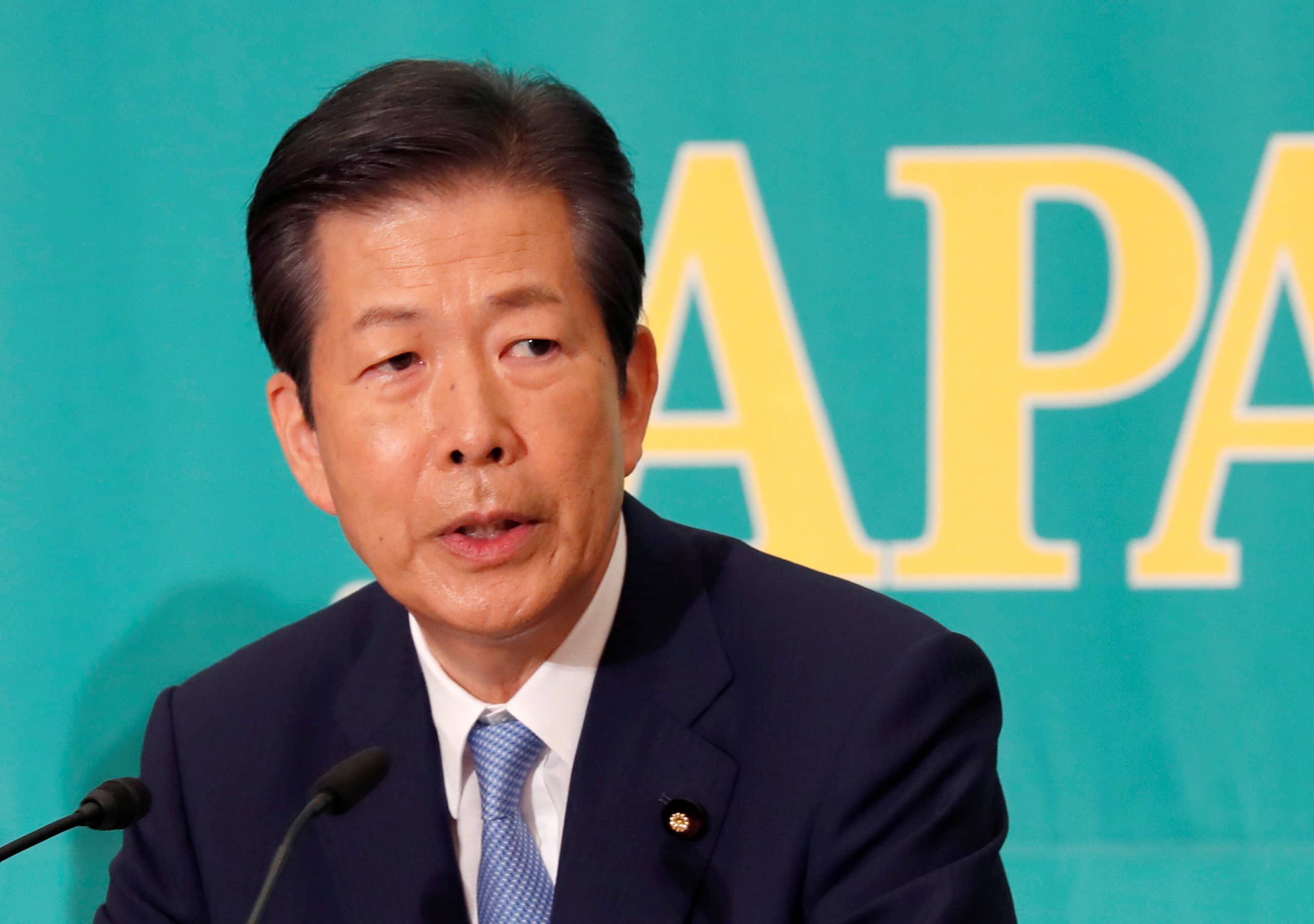 Natsuo Yamaguchi, head of the Liberal Democratic Party's coalition partner Komeito, has taken a cautious stance on the possibility of Japan  possessing the capability to attack enemy bases. | REUTERS