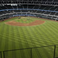 The field at Globe Life Field, the new home of the Rangers, is seen during its first day of public tours on Monday in Arlington, Texas. | USA TODAY / VIA REUTERS