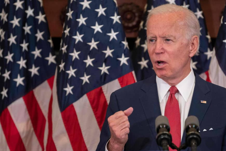 U.S. Democratic presidential candidate and former Vice President Joe Biden speaks about the unrest across the country from Philadelphia City Hall on Monday. | AFP-JIJI