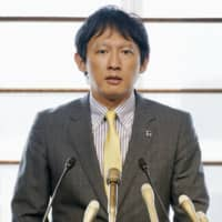 Kumamoto Vice Gov. Taisuke Ono speaks at a news conference in the city of Kumamoto on Tuesday. | KYODO