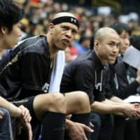 The SeaHorses' J.R. Sakuragi reacts on the bench during an Emperor's Cup game against the Jets in 2018. | KAZ NAGATSUKA