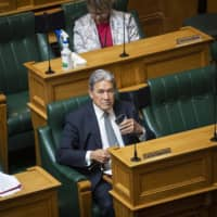 Winston Peters, New Zealand's deputy prime minister, listens during the presentation of the budget at Parliament in Wellington in May. | BLOOMBERG