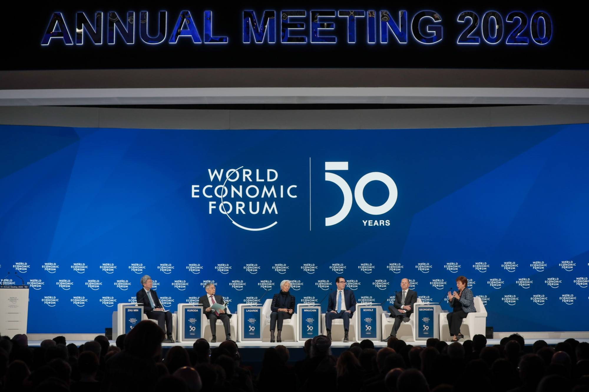 A session is being held during the closing day of the World Economic Forum in Davos, Switzerland, in January. | BLOOMBERG