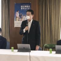 Fumio Kishida, the Liberal Democratic Party's policy chief, speaks during a meeting at LDP headquarters in Tokyo on Friday.   KYODO