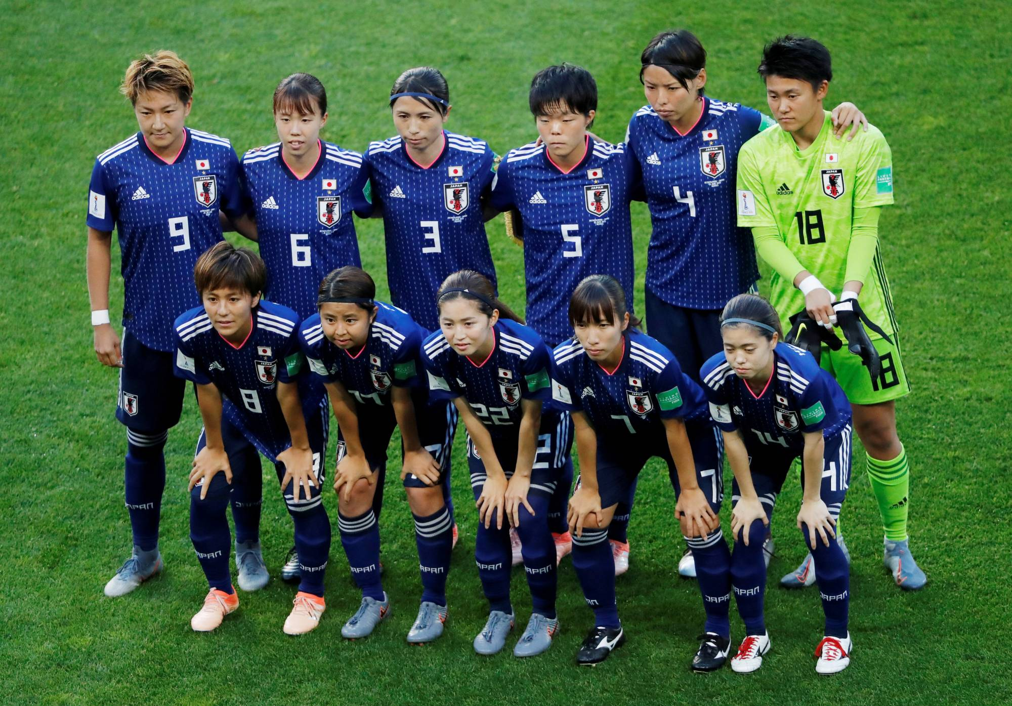 Nadeshiko Japan players pose for a team photo prior to their match against the Netherlands during the 2019 Women's World Cup in Rennes, France.   REUTERS