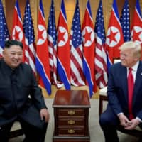 U.S. President Donald Trump meets with North Korean leader Kim Jong Un in the Demilitarized Zone separating the two Koreas in June 2019. | REUTERS