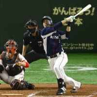 Shuta Tonosaki finished with 26 home runs and 22 stolen bases for the Lions in 2019. | KYODO
