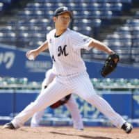 The Marines' Atsuki Taneichi pitches during a practice game this month in Chiba. | KYODO