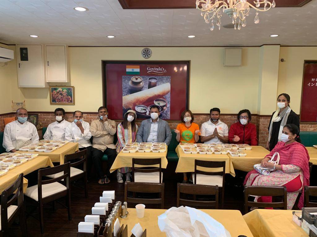Staff from Govinda's Tokyo restaurant have been making bento lunches to give to hospital workers during the pandemic, supported by the owner and the Indian community. | MEGHA WADHWA