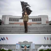 In the capitals of the two Koreas, flagship museums offer radically different accounts of the same conflict — the war launched to unify the peninsula but that now defines its division. Top: Tour guide Choe Un-Jong poses in front of the Victorious Fatherland Liberation War Museum in Pyongyang. Bottom: Korean War section curator Go Hanbin stands outside the War Memorial of Korea museum in Seoul. | AFP-JIJI