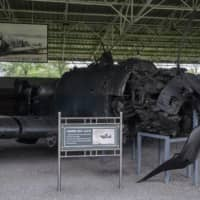 The remains of a Korean War-era US fighter aircraft is displayed at the Victorious Fatherland Liberation War Museum in Pyongyang. | AFP-JIJI