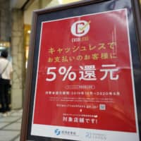 Under a program to promote cashless payments, the government reimbursed up to 5 percent of the value of purchases in the form of points to shoppers at registered stores. | KYODO
