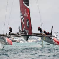 Team New Zealand races during the 35th America's Cup in Hamilton, Bermuda, on June 26, 2017. | AFP-JIJI