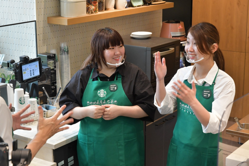 The coffee chain already offers services in sign language at four stores in Malaysia, the United States and China at present. | COURTESY OF STARBUCKS JAPAN