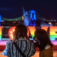 People wearing face masks take pictures in Tokyo's Odaiba area Sunday evening. | AFP-JIJI