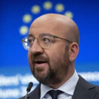 European Council President Charles Michel speaks at a news conference in Brussels on Tuesday. | AP / VIA KYODO