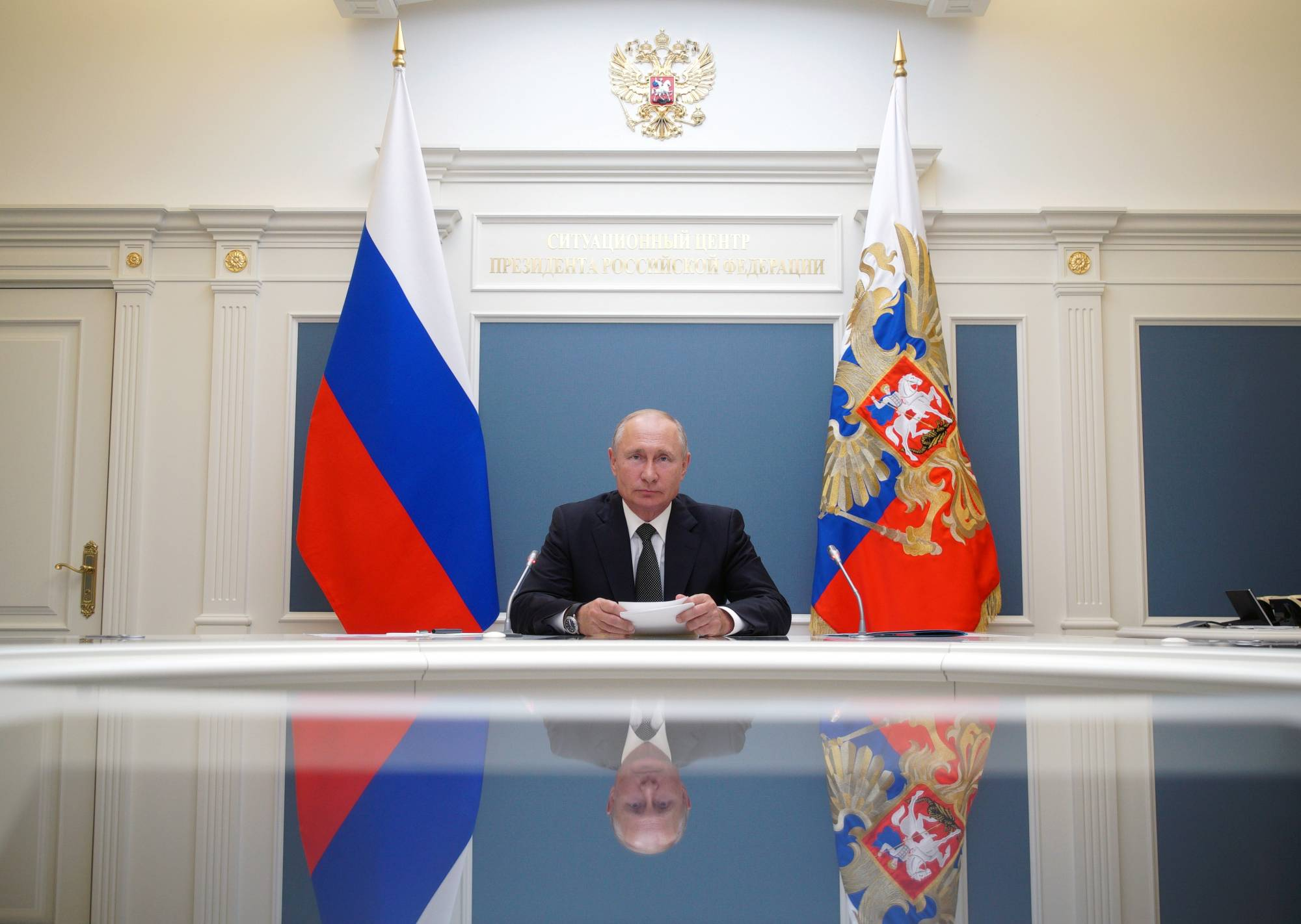 Russian President Vladimir Putin takes part in a video conference call on Tuesday.  | KREMLIN / VIA REUTERS