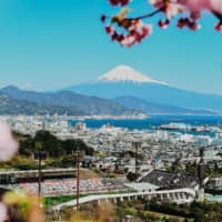 Views of Mount Fuji from IAI Stadium Nihondaira in Shimizu, Shizuoka Prefecture, have struck a chord with overseas soccer fans following the J. League's social media channels. | COURTESY OF THE J. LEAGUE