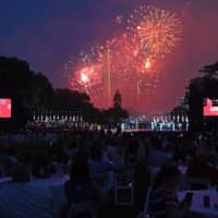 Fireworks explode near the Washington Monument as a crowd watches from South Lawn of the White House on Saturday.  | AFP-JIJI